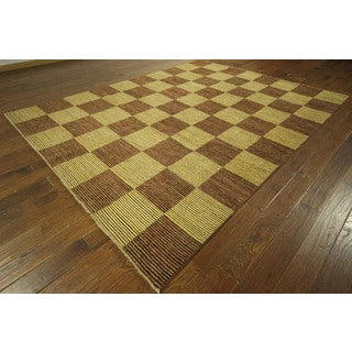 Checkered Design Gabbeh Multi-colored Oriental Hand-knotted Wool Area Rug (8' x 10')