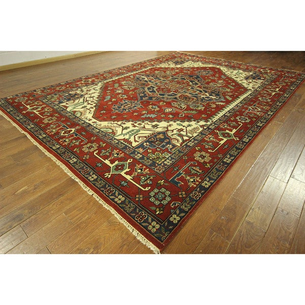 Hand Knotted Persian Wool Area Rug 5 10: Red Heriz Serapi Oriental Floral Hand-knotted Wool Area