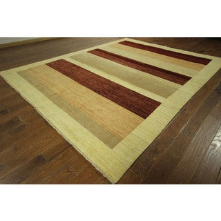 Traditional Gabbeh Multi-colored Hand-knotted Oriental Striped Wool Area Rug (9' x 12', 9' x 10')