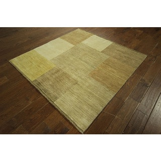 Square Multi-colored Gabbeh Oriental Hand-knotted Checkered Wool Area Rug (5', 5' x 5')