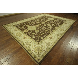 Amazing Brown Soumak Oriental Hand-knotted Floral Zero Pile Wool Area Rug (9' x 12', 9' x 10')
