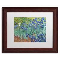 Vincent van Gogh 'Irises, 1889' White Matte, Wood Framed Wall Art