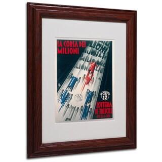 Lottery of Tripoli Grand Prix 1934' White Matte, Wood Framed Wall Art