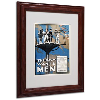 Recruitment Poster for the Canadian Navy' White Matte, Wood Framed Wall Art