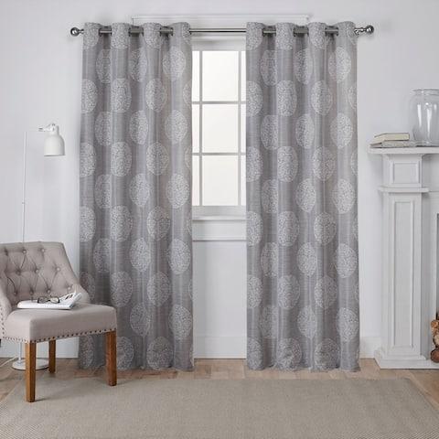ATI Home Akola Cotton Blend Jacquard Grommet Top Curtain Panel Pair