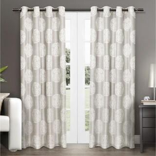 ATI Home Akola Cotton Blend Jacquard Grommet Top Curtain Panel Pair