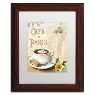 Lisa Audit 'Cafe in Europe I' White Matte, Wood Framed Wall Art