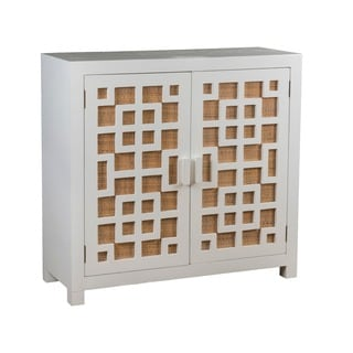 Aurora Geometric Rubbed White - White Wash TV Stand
