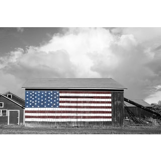 Portfolio Canvas Decor James McLoughlin 'Flags of our Farmers 1' 24x36 Framed Canvas Wall Art