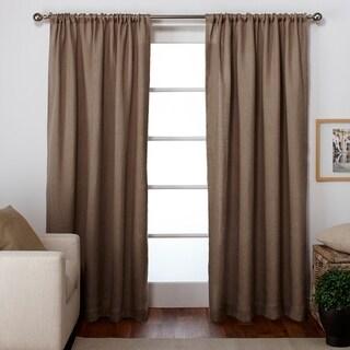 ATI Home Burlap Jute Rod Pocket Top Curtain Panel Pair