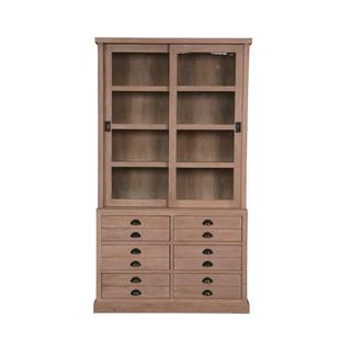 Dacono Rustic Natural Bookcase With Drawers