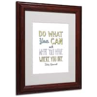 Megan Romo 'Do What You Can III' White Matte, Wood Framed Wall Art - White/Yellow