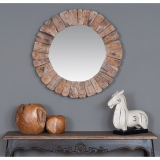Decorative Scappoose Round Wooden Mirror