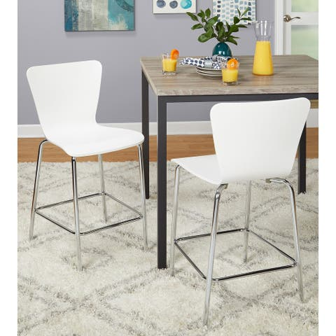 Simple Living Pisa 24-inch Modern Chrome/Bentwood Dining Stools (Set of 2)