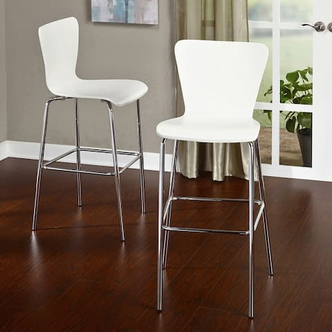 Simple Living 30-inch Pisa Bentwood and Chrome Stools (Set of 2)