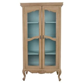 Eads Antique Antique White Display Cabinet With Glass Doors