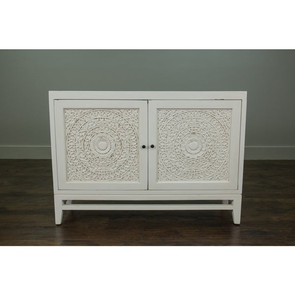 Bon East At Mainu0026#x27;s Glendale Rustic White Handcarved Media Console Cabinet