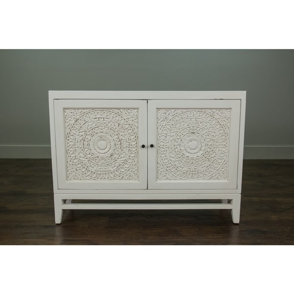East At Mainu0026#x27;s Glendale Rustic White Handcarved Media Console Cabinet