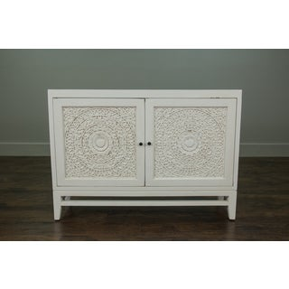 Glendale Rustic White Handcarved Media Console Cabinet