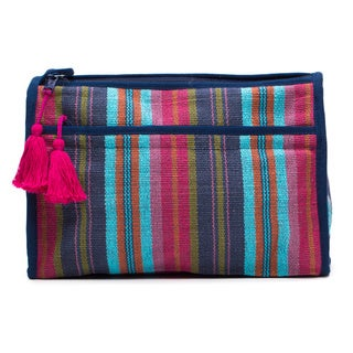Handmade Berry Boho Cotton Cosmetic Bag (India)