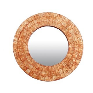 Redmond Medium Round Orange Mirror