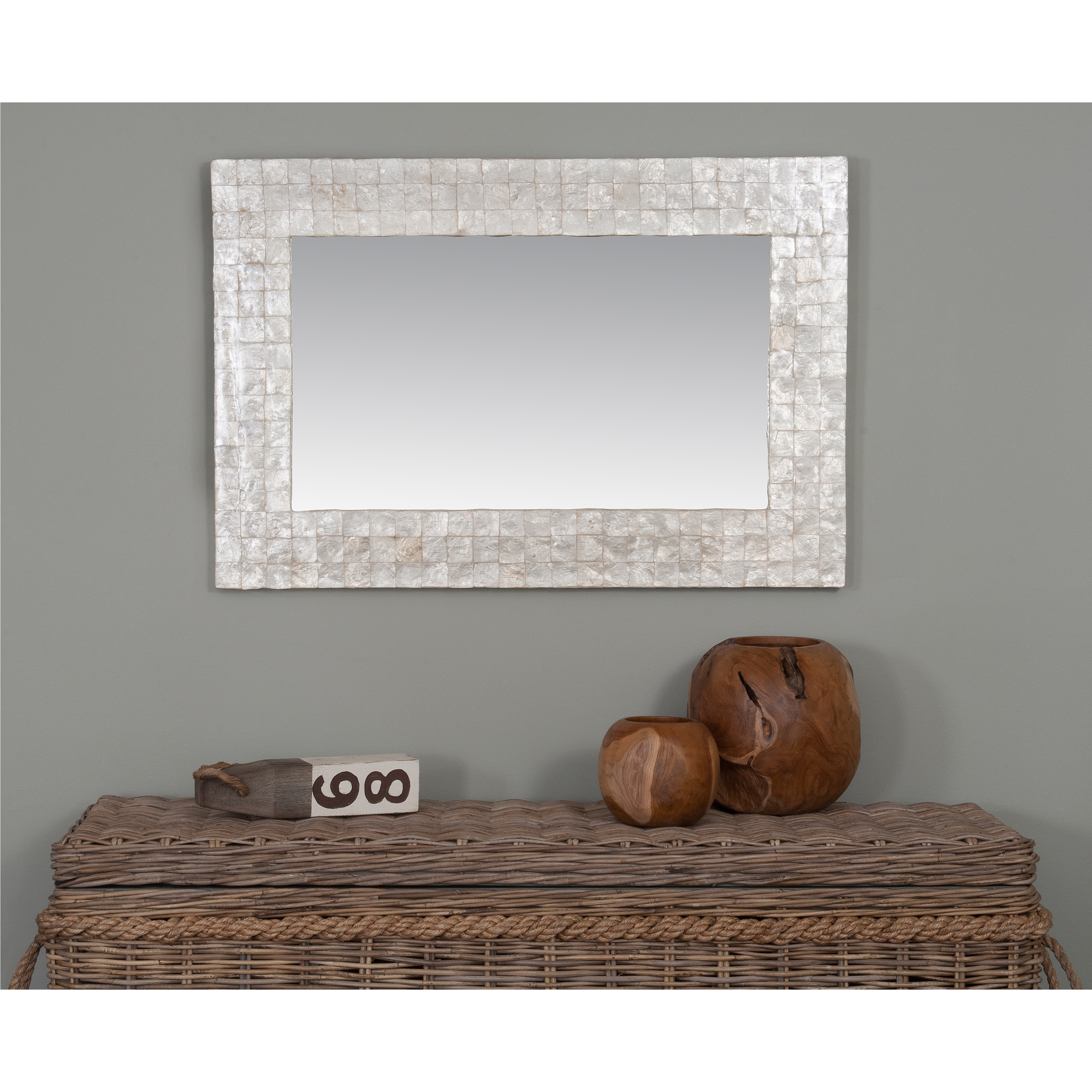 Crafted Home Small Troutdale Mirror Accented with Capiz S...
