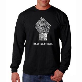 Men's Los Angeles Pop Art No Justice, No Peace Long Sleeve T-Shirt