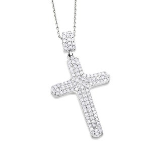 Luxurman 14k Gold 2/5ct TDW Diamond Cross Necklace (G-H, SI1-SI2)