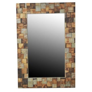 Umatilla Wood Mosaic Rectangular Accent Mirror