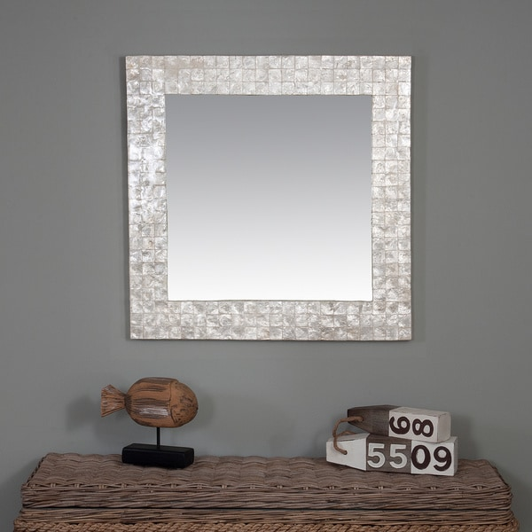 Shop Valley Capiz Shell Accented Off White Square Mirror