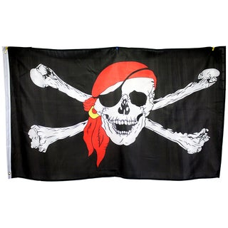 3x5 Super Polyester Red Bandana Pirate Flag indoor Outdoor