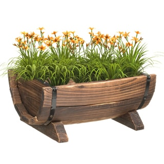 Wooden Half Barrel Garden Planter