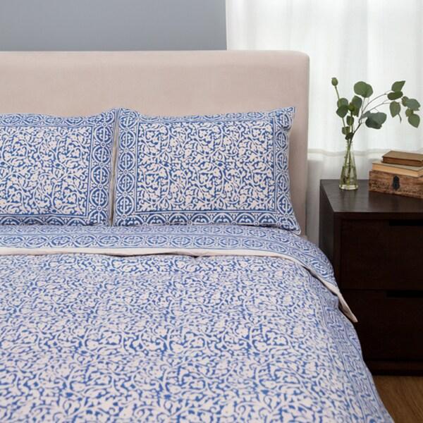 Handmade Indigo Blue Chain Pattern King-sized Duvet Set (India)