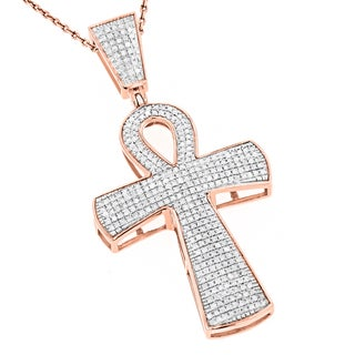 Luxurman 10k Gold 4/5ct TDW Diamond Iced-out Egyptian Ankh Cross Pendant (H-I, SI1-SI2)
