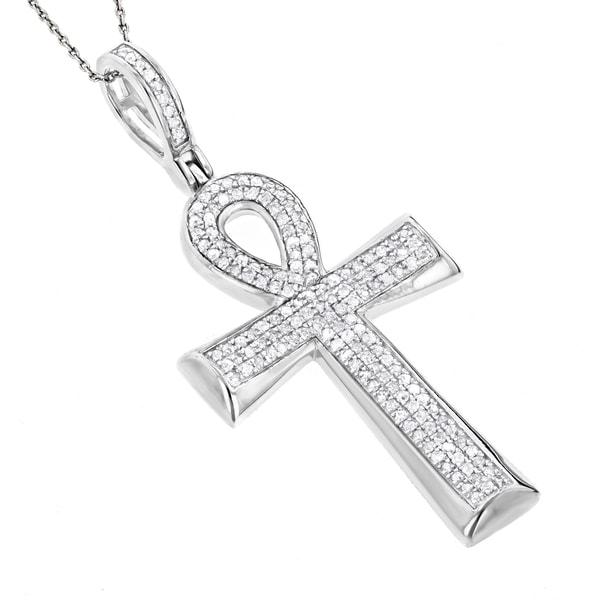 Luxurman 10k Gold 25ct TDW Diamond Egyptian Ankh Cross Pendant of