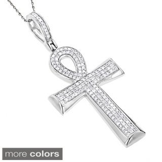 Luxurman 10k Gold 2/5ct TDW Diamond Egyptian Ankh Cross Pendant of Life (H-I, SI1-SI2)