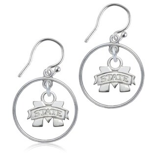 Mississippi State Sterling Silver Hoop Earrings
