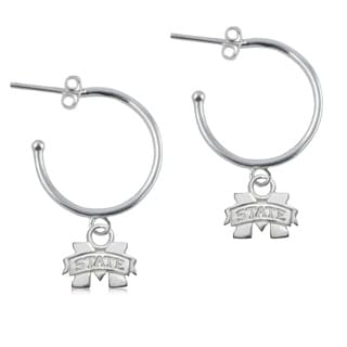 Mississippi State Sterling Silver Open Drop Earring