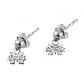 Mississippi State Sterling Silver Post Dangle Earrings