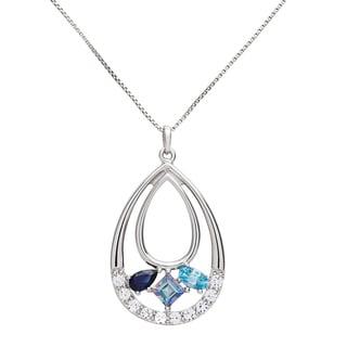 Sterling Silver Teardrop Multi-gemstone Pendant