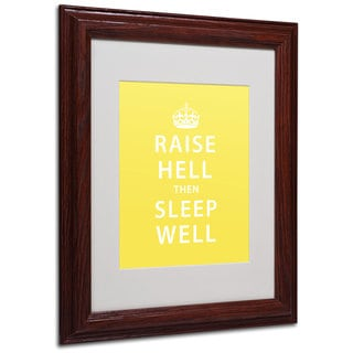 Megan Romo 'Raise Hell V' White Matte, Wood Framed Wall Art