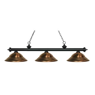 Z-Lite Riviera Matte Black 3-light Island/Billiard Stepped Antique Copper-finished Light