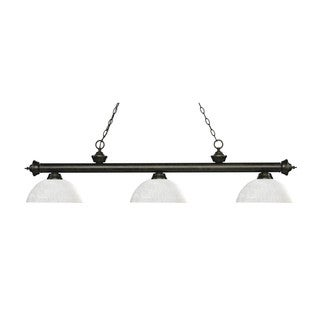 Z-Lite Riviera Matte Black 3-light Island/Billiard Dome White Linen -finished Light