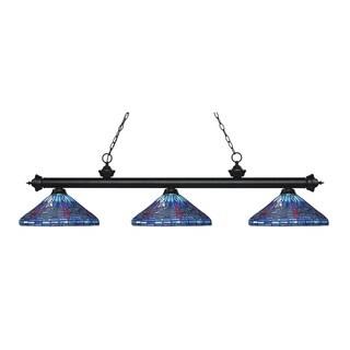 Z-Lite Riviera Matte Black 3-light Island/Billiard Multi Colored Tiffany-style-finished Light