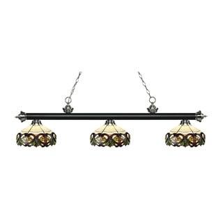 Z-Lite Rivera Matte Black & Brushed Nickel 3-light Island/Billiard Multi Colored Tiffany-finished Light