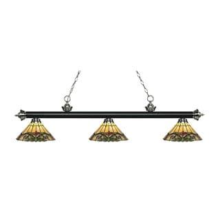 Z-Lite Rivera Matte Black & Brushed Nickel 3-light Island/Billiard Multi Colored Tiffany-style-finished Light