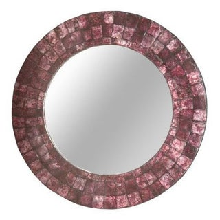 Woodburn Large Round Purple Mirror
