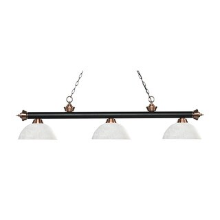Z-Lite Rivera Matte Black & Antique Copper 3-light Island/Billiard Dome White Linen -finished Light
