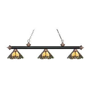 Z-Lite Rivera Matte Black & Antique Copper 3-light Island/Billiard Multi Colored Tiffany-style-finished Light