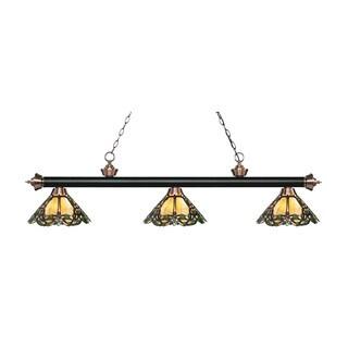 Z-Lite Rivera Matte Black & Antique Copper 3-light Island/Billiard Multi Colored Tiffany-style-finished Light